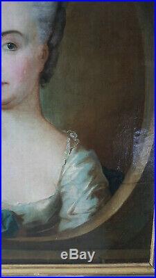 PORTRAIT FEMME DE QUALITE NOBLE EPOQUE FIN XVIII ème Huile sur toile