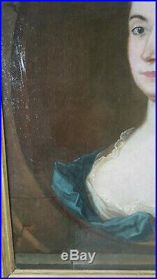 PORTRAIT FEMME DE QUALITE NOBLE EPOQUE LOUIS XVI 18ème siècle Huile sur toile