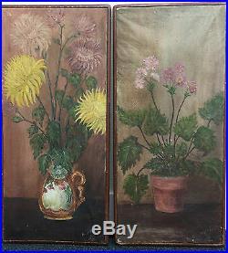 Paire De Tableaux 1919 H. Michel Peinture Huile Sur Toile Bouquets Fleurs