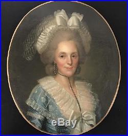 Paire de portrait en huile sur toile d'époque Louis XVI