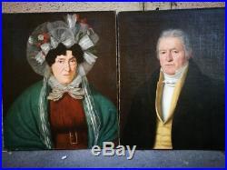 Paire de portraits en couple, 1833, école française, huile sur toile HST