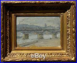 Paris, 1890, Le Pont Des Arts Signature à Déchiffrer Petit Impressionniste
