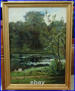 Paul BIVA (1851-1900). Etang aux nénuphars 2, pêche, impressionnisme, nymphea