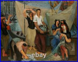 Paul COLLOMB tableau cubiste La Ruche Jean SOUVERBIE scène pêche port marine art