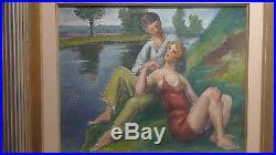 Paul Emile COLIN huile sur toile Couple au bords de l'eau