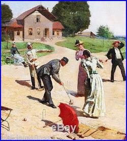 Paul ROSSERT (1851) PARTIE de CROQUET à DEAUVILLE