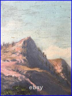 Paysage de montagne monts enneigés avec torrent Moutons signé L. Duveau 1912