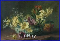 Peinture Ancienne Huile Original XIXème Nature morte aux Fleurs et Vase