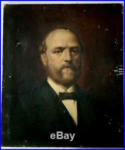 Peinture ancienne huile sur toile portrait d'un homme important XIXe siècle