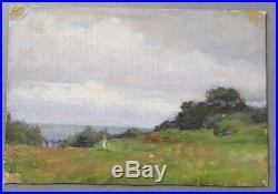 Peinture huile Jules-Cyrille Cavé paysage nature mer côte arbres XIXème XXème