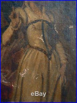 Peinture romantique du 19e siècle romantisme proche DEVERIA à restaurer