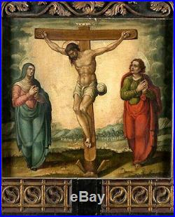 Peinture sur Panneau Des XVI-XVIIe. La Crucifixion avec la Vierge et Saint Jean
