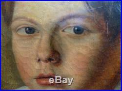 Petit Garçon aux Yeux Bleus & à la Boucle d'Oreille Portrait Romantique vers1830