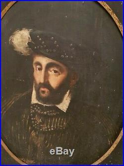 Picard (Éd.), portrait du roi Henri II, huile sur toile, cadre fleur de lys