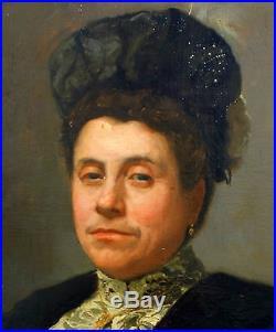 Pierre VAILLANT (1878-1939) portrait de femme Huile sur toile fin XIXème siècle