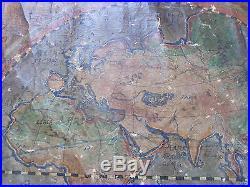 Planisphère Mappemonde sur Toile XVIII°s Peinture à l'huile Espagne World Map
