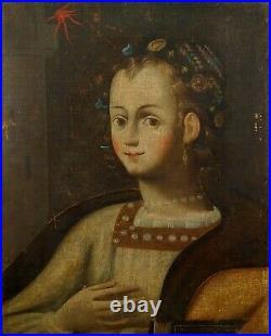 Portrait De Dame. Huile Sur Toile. Ecole Italienne. Italie . Xvii-xviiiè