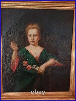 Portrait De Femme à La Fleur. Huile Sur Toile, école française XIX ème s