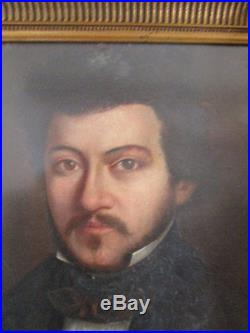 Portrait De Jeune Homme À La Moustache Huile Sur Toile Xixème