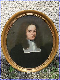 Portrait Homme XVII 17 ème Huile sur Toile
