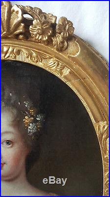 Portrait Mademoiselle de Blois duchesse d'Orléans huile sur toile 17ème siècle