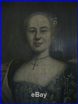 Portrait XVIIIe 1740 épouse de Joseph Gardies école provençale 18e / Gard