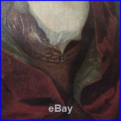 Portrait ancien vers 1700 femme de qualité