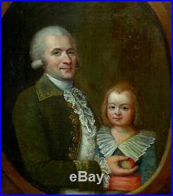 Portrait d'Homme et d'Enfant Ecole Française Huile sur Toile du XVIIIème siècle