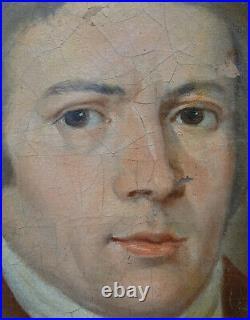 Portrait d'homme Révolution Française école du XVIIIème siècle Huile sur toile