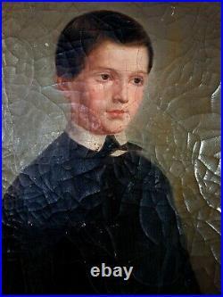 Portrait d'un jeune séminariste Huile sur toile XIXe s. 45,5x37,5 cm
