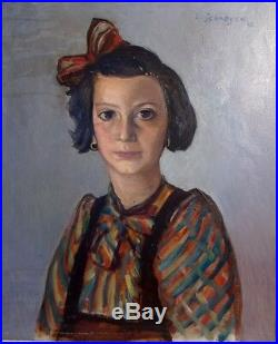 Portrait d'une Petite Fille Juive Anna Maria Lévi par L. Schroyen 1943 Huile