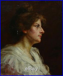 Portrait de Femme Huile Sur Toile Ecole Française fin XIXème siècle