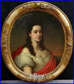 Portrait de Femme Style XVIIème Siècle Epoque Second Empire Huile sur Toile