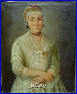 Portrait de Femme à la coiffe Epoque XIXème siècle Huile Sur Toile