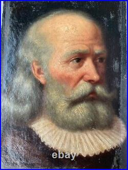 Portrait de Gentilhomme Huile sur Toile Personnage à la Fraise 17ème