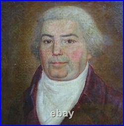 Portrait de Gentilhomme d'Epoque Louis XVI Huile sur Toile XVIIIème siècle