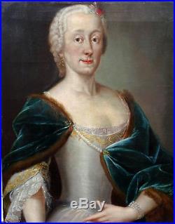Portrait de femme Ecole française époque louis XV XVIIIème siècle huile sur toil