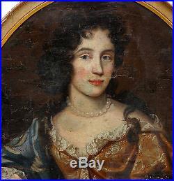 Portrait de femme Epoque Louis XIV Ecole Française Huile sur toile