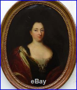 Portrait de femme Epoque Louis XIV Ecole Française Huile sur toile XVIIème siècl