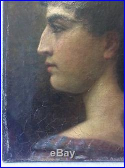 Portrait de femme Néoclassique XVIII Huile sur toile anonyme