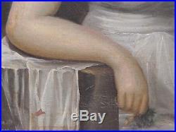Portrait de femme. Tableau de Charles Brandt 1807. Cadre d'époque
