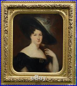 Portrait de femme au chapeau Epoque milieu XIXème siècle Huile sur toile