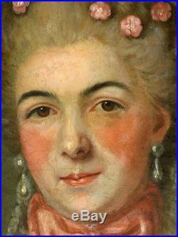 Portrait de femme de qualité Ecole française du XVIIIème siècle Huile sur toile