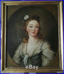 Huile sur toile » Blog Archive » Portrait de femme huile sur toile tableau peinture 18ème siècle