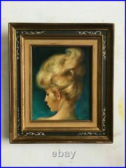 Portrait de femme par Robert Van Cleef 1914 2006 Avec son cadre