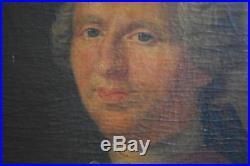 Portrait de gentilhomme à l'huile sur toile époque XVIIIème