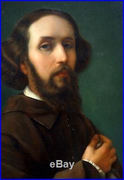 Portrait du peintre lyonnais Eugène Allard Huile sur toile XIXème siècle
