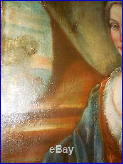 Portrait ecole italienne du XVIIIé siecle portrait a la rose encadré grand form