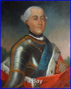 Portrait présumé de Georges III en armure Huile sur toile du XVIIIème siècle