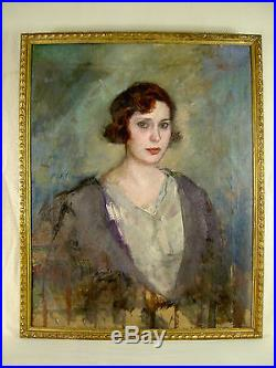 Rafael Martinez Padilla Grand Portrait H/t Femme Art Deco 1926 Retrato Pintura